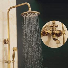Set de ducha antiguo online-Cuarto de baño ducha de lluvia conjunto de bronce antiguo montado en la pared grifos de ducha de baño con ducha de mano montado en la pared