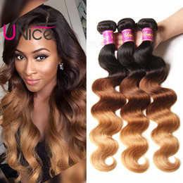 bulk hair dye Coupons - UNice Hair Brazilian T1B 4 27 Body Wave Bundles Ombre Remy 100% Human Hair Weaves Virgin 4 Bundles Hair Extensions Bulk Wholesale Nice