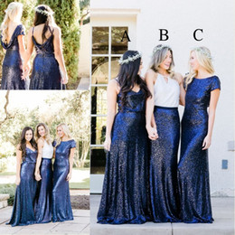 Wholesale Beautiful Mix - 2018 Newest Beautiful Country Style Sequins Bridesmaid Dresses Royal Blue Two Pieces Mix and Match Bridesmaid Dress Custom Made Party Gowns