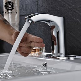 Wholesale Automatic Tap Sensor - Cold Water Bathroom Tap Automatic Touch Free Sensor Chrome Polish Faucets Deck Mounted