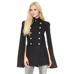 Wholesale Cape Overcoat - European and American foreign trade women's woollen cloth coat lady's cape woolen overcoat, autumn winter women's woolen coat black