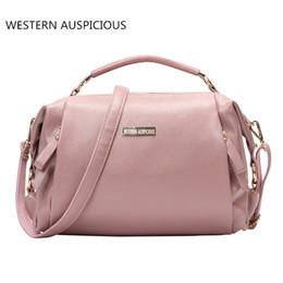 Wholesale Handbag Western - WESTERN AUSPICIOUS Handbag Female Zipper Satchels Genuine Leather Top-handle Bags Fashion Pink Lady Multi-functional Bags