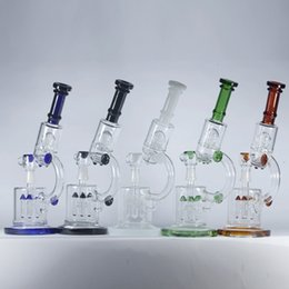 "Wholesale Ufo Rocket - Microscope Oil Rigs Double Recycler with Rocket Perc and UFO Perc Thick Glass Water Pipes Bongs 14"" inch Hookahs Beaker Pipes 18.8mm Joint."