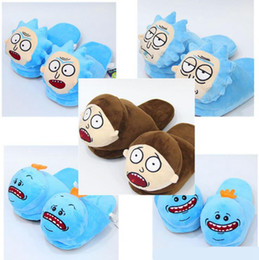 Wholesale slipper stuffed - Rick And Morty Soft Stuffed Plush Indoor Slippers Shoes Anime Cartoon Warm Happy Sad Slippers 2pcs pair OOA4085