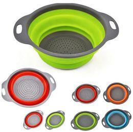 Wholesale basket tools - 2pcs set Foldable Silicone Colander Fruit Vegetable Washing Basket Strainer Collapsible Drainer With Handle Kitchen Tool CCA8808 50set
