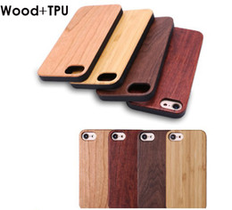 Accessoires naturels bon marché en Ligne-Accessoires de téléphone cellulaire en gros pas cher TPU en bambou pour Iphone 7 8 plus X 6 6S 5S bois naturel couverture de téléphone cas en bois pour Samsung S9 S8