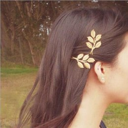 Wholesale Elegant Hair Fashion - Lovely European Fashion Vintage hairpin Woman's golden Alloy Flower Leaf Hair Clip elegant hair accessories for girl party wedding