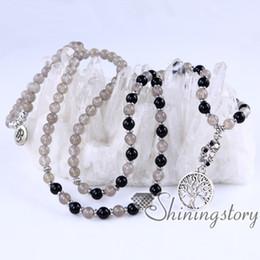 Wholesale bead jewelry for sale - 108 mala bead necklace tree of life pendant ohm jewelry prayer beads for sale 108 prayer beads healing crystal jewelry healing crystal jewel