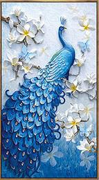 2019 ölgemälde landschaften obst Voller Bohrer 5d Diamant Malerei-Blue Peacock-Kunst Handwerk für Home Wall Decor Festival Geschenk DIY Diamant Malerei Kits