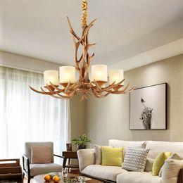 Wholesale Antler Room - Chandelier European style Living room lights 6 Head Candle Antler American Retro Resin Deer Creative Chandeliers