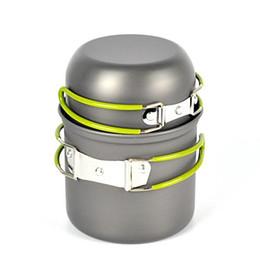 2 pçs / set portátil de alumínio panela de acampamento define panela panela panelas mini caminhadas ao ar livre cozinhar conjunto supplier aluminum camping pots de Fornecedores de potes de campismo de alumínio