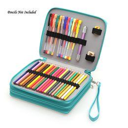Canada 124 porteurs grande capacité école crayon cas pour stylos d'art aquarelle crayons de couleur PU cuir sac de crayon sac fournitures scolaires Offre
