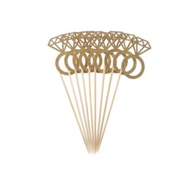 Wholesale Ring Cupcakes - Hot Sale 10Pcs Wedding Gold Diamond Ring Paper Cupcake Toppers Candy Wrapper Cases Liners Party Decorations Supplies