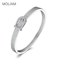 Wholesale Wholesale Costume Jewelry Sets - whole saleMOLIAM Unique Design Belt Shaped Bangle Bracelet for Ladies Silver Color Crystal Cubic Zirconia Costume Jewelry MLZ009