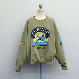 Tuta sportiva divertente online-New Winter Autumn New Harajuku Funny Cartoon Tuta per le donne Pullover Felpe con cappuccio in pile Felpa femminile allentata Army Green 2xl all'ingrosso