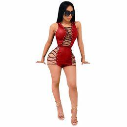 Canada 2018 mode en cuir solide combinaison femmes sexy maigre profonde v-cou play costumes dames sans manches évider à des combinaisons de jeu livraison gratuite Offre