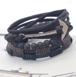 2019 bijoux bracelets de bijoux de créateurs perlés pour les hommes hameçon, ancre de bateau, cuir, bracelets double pont, mode chaude, sans expédition promotion bijoux