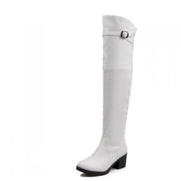 Stivali bianchi online-Stivaletti invernali con gli stivaletti laterali con cerniera sul tallone alto-gamba al ginocchio bianco neve plus taglia 40