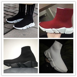 Wholesale name brand flat shoes - Name Brand High Quality Unisex Runnin Shoes Flat Fashion Socks Boots Woman New Slip-on Elastic Cloth Speed Trainer Runner Man Shoes Outdoors