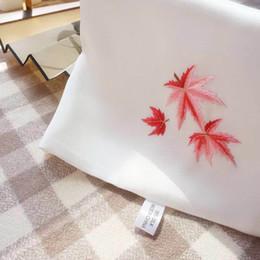 Wholesale Orange Silk Handkerchief - Pure hand embroidered silk handkerchief original design embroidered silk maple leaf handkerchief.