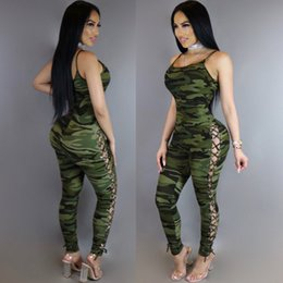 Wholesale Women S Jumpsuits Clothing - 2017 Sexy Women Yoga Suit Camouflage Armygreen Suits Sleeveless Jumpsuit Women's Running Set Sports Clothing Tracksuit For Women