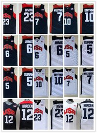 Wholesale Olympic Basketball Jerseys - 2012 Olympic Games USA Dream Team Shirts #5 Kevin Durant #6 James 12#James Harden Jersey 7 Westbrook 10Kobe Bryant Irving Navy White Jerseys