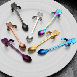 cartoon scoop Sconti Cucchiaino per caffè in acciaio inox Cucchiaio per dolci Food Grade Gelato Caramella Cucchiaino per cartoni animati Gattino Maniglia Sospensione Scoop ZA6000