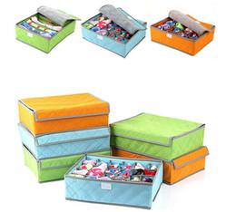 Wholesale Bra Storage Boxes - 1Pcs Bedroom Foldable Socks Storage Box Hot Organizer Underwear Bra White Clouds New Random Color