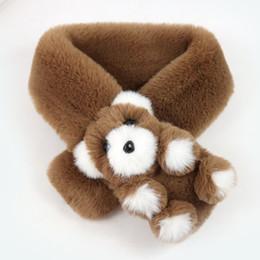 2019 porta sciarpa invernale Autunno e inverno bambini sciarpa collare di coniglio imitazione simpatico orso collare bambino moda solido collo caldo sciarpa 71cm * 9cm porta sciarpa invernale economici