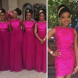 Wholesale Formal Removable Skirt - Rose Red Sequin Lace Formal Bridesmaid Dresses 2018 Removable Long Tulle Skirt Wedding Party Guest Dresses Nigerian African Style Plus Size
