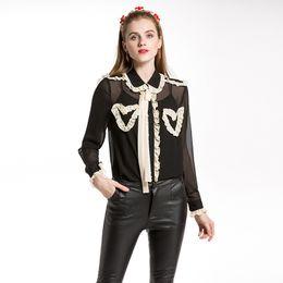 Wholesale white peter pan blouse - 2018 Spring New Women Vintage Runway Chiffon Shirt Female Two-pieces Peter pan Collar Transparent Blouse See Through Tops