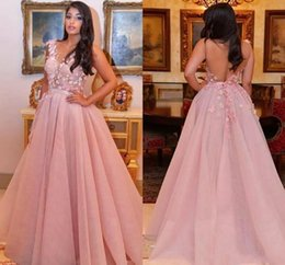 Wholesale Cheap Floral Prom Dresses - 2018 Pink Floral Flower Appliqued A Line Cheap Prom Dresses Sheer Neck Backless Sexy Evening Gowns Dubai Arabic Formal Vestido