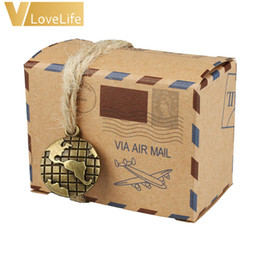 Wholesale Wedding Mail Box - Event Souvenirs Boxes 50 pcs Kraft Travel Theme Air Mail Wedding Favor Gift Box Candy Pack Festive Party Supplies