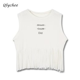 90e27a573fe5 Qlychee Letter Print Tassel Crop Top Sleeveless Round Neck Women Tank Tops  Spring Summer Loose Casual Camisoles Streetwear