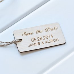 Wholesale Personalized Wedding Set - Save the date wood card 50 piece in a set Rustic Save the Date , Wedding tags Wood Personalize thank you wedding tags
