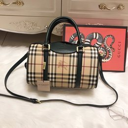 Wholesale Knitted Soft - 2018 Luxury designer New Burberrx printing PU handbags girl shoulder bags teenager handbag Waterproof purse wallet school lady Bag 180127009