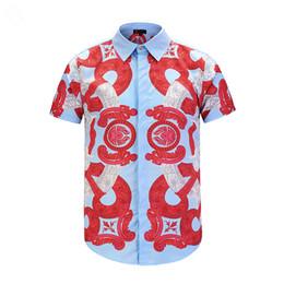 Estilos de camisas de esmoquin online-Tendencia de moda Cómodo Estilo de Creencia Transpirable Impresión Camisa de Manga Corta Hombres de Alta Calidad de la Marca de Esmoquin Camisas Ropa