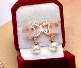 Wholesale Classic Gold Earrings - Classic Brand Designer Pearl Drop Dangle Letters Ear Stud Clip Double Layer Earrings Wedding Prom Jewelry Gift Accessory