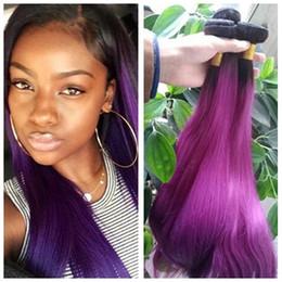 Dos tonos de color ombre pelo lacio online-Dark Root Colored Ombre Two Tone Straight Hair Extension 1b Purple Color Hair Extension Purple Color Hair Extension