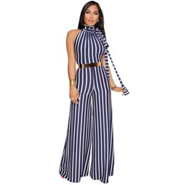 Wholesale Womens Sexy One Piece Bodysuit - Women Wide Leg Pants Jumpsuits Stripe Backless Sexy Bodysuit Overalls One Piece For Women Halter Rompers Womens Jumpsuit