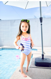 Wholesale One Piece Bathing Suit Kids - New style kids baby girls swimwear childer girls purple flowers cute bathing suit hollow striped flower siwmming suit outfits