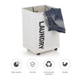 Wholesale basket bamboo - Large Foldable Oxford Cloth Laundry Basket Bin Mesh Drawstring Dirty Clothes Hamper with Handles 4 Support Rods Universal Wheels