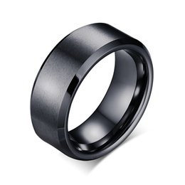 Wholesale black rings for women - Creative Simple Smooth Pure Tungsten Titanium steel Ring stainless steel For Men Women Gifts