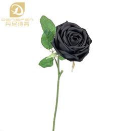 Wholesale Single Rose Decoration - 1pcs Denisfen Elegant Single Black Rose Silk Flowers Artificial Fake Floral for Home Decoration AFRB160316 Free shipping