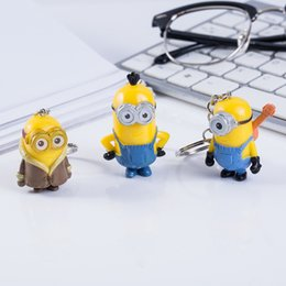Wholesale Despicable Girls - 8 Designs Cartoon Moive Despicable Me Minions Keyring Key Buckle Key Chains Pendant Vinyl Doll Key Ring Figures Collection Artware