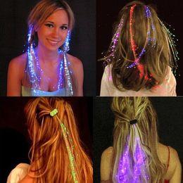 Luminous Light Up LED Hair Extension Flash Braid Party girl Bagliore di capelli in fibra ottica per la festa di Natale Decorazione di Halloween 0601782 da