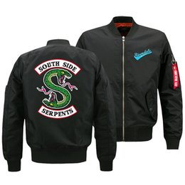 Um terno lateral on-line-Casaco de outono e inverno jaqueta masculina Riverdale South Side Serpents um vôo Flight Suit