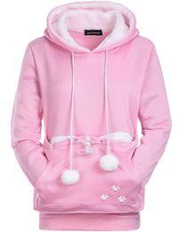 sudaderas rosa para perros Rebajas Kawaii Pink Cat Lovers sudaderas con capucha de invierno Cuddle Pouch Dog Pet Hoodies para jerseys casuales con orejas sudadera S-XL para mujeres