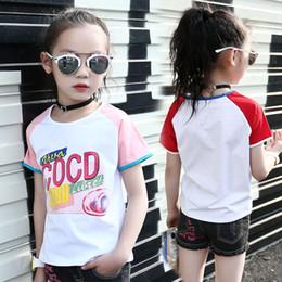 Marca T-Camisas para niñas Summer Cotton Stripe Girl Letter T-Shirts Casual  Print Tees Ropa para niños Moda Hip Hop T-Camisa ropa del verano del hip-hop  de ... 9bfcd4de287