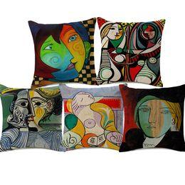 Canada Pablo Picasso Peintures Housses de Coussin Européenne Moderne Abstrait Peinture Art Housse De Coussin Canapé Décoratif Lin Taie D'oreiller Offre